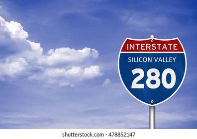 Silicon Valley Interstate road sign 3D illustration