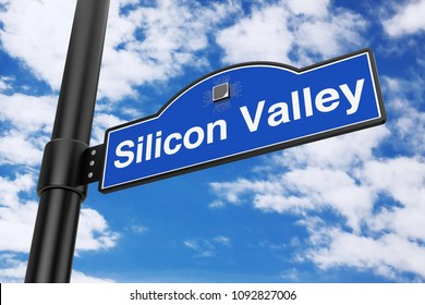 Silicon Valley Road Sign on a blue sky background. 3d Rendering