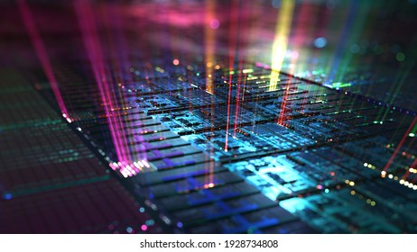 Silicon wafer, hardware data processing background. 3D rendering