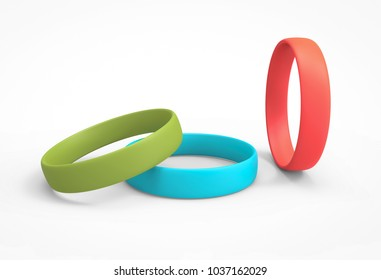Silicone Bracelets in Green, Blue and Red Color. 3D Render