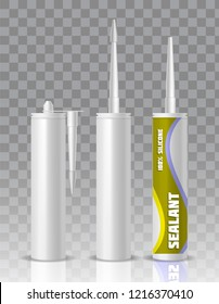Silicone sealant packaging container tube with nozzle mock up set. realistic illustration isolated on transparent background.