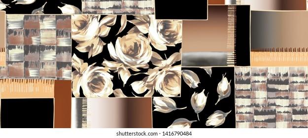 Silk scarf design, fashion textile
