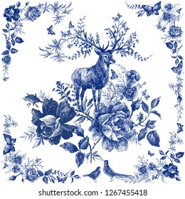 Silk scarf with floral and wild animal.  Deer illustration. Vintage design shawl with roses. Fairytale forest. hand drawn flower line graphics. fashion textile design Indigo color.