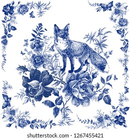 Silk scarf with floral and wild animal. Fox illustration. Vintage design shawl with roses. Fairytale forest. hand drawn flower line graphics. fashion textile design Indigo color.