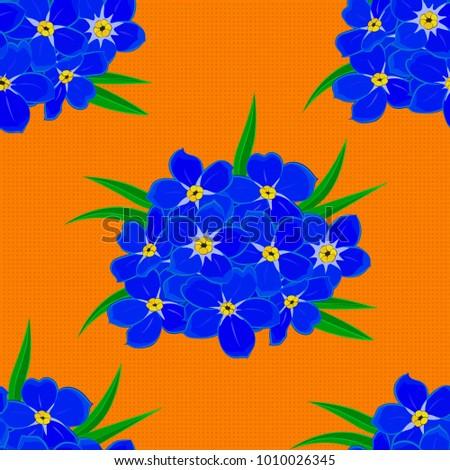 Silk Scarf Forgetmenot Flowers Blue Green Stock Illustration
