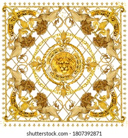 Silk scarf with golden lion and damask ornament. luxury shawl design. gold lace watercolor hand drawn textile background.