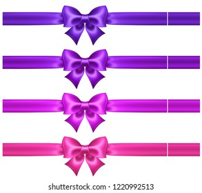 Silk ultra violet and pink bows with ribbons for greeting, business and gift cards