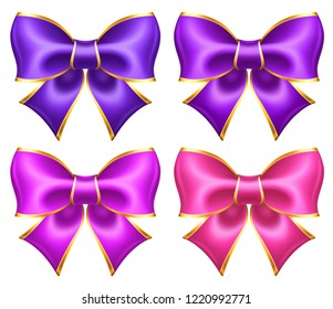 Silk ultra violet and pink bows with golden border for greeting, business and gift cards