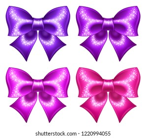 Silk ultra violet and pink bows with glitter are perfect for creating gift, wedding, business cards and gift vouchers