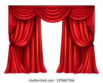 silk, velvet theatrical curtain with folds isolated on white background. Decoration element for performance, premiere. Red elegant blinders. Great concept for presentation, announcement, show.