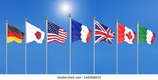 Silk waving G7 flags of countries of Group of Seven Canada, Germany, Italy, France, Japan, USA states, United Kingdom. Blue sky background.Biarritz, France. Big G7 in France 2019. 3D illustration.