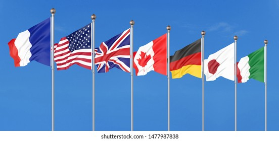 Silk waving G7 flags of countries of Group of Seven Canada, Germany, Italy, France, Japan, USA states, United Kingdom. Blue sky background. Big G7 in France 2019. 3D illustration.