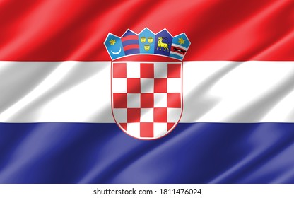Silk wavy flag of Croatia graphic. Wavy Croatian flag illustration. Rippled Croatia country flag is a symbol of freedom, patriotism and independence.
