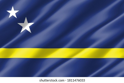 Silk wavy flag of Curacao graphic. Wavy Curacaoan flag illustration. Rippled Curacao country flag is a symbol of freedom, patriotism and independence.
