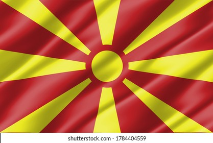 Silk wavy flag of Macedonia graphic. Wavy Macedonian flag 3D illustration. Rippled Macedonia country flag is a symbol of freedom, patriotism and independence.