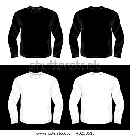 Black And White Realistic Blank Long Sleeve T Shirt Templates Front