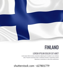 Silky flag of Finland waving on an isolated white background with the white text area for your advert message. 3D rendering.