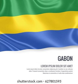 Silky flag of Gabon waving on an isolated white background with the white text area for your advert message. 3D rendering.