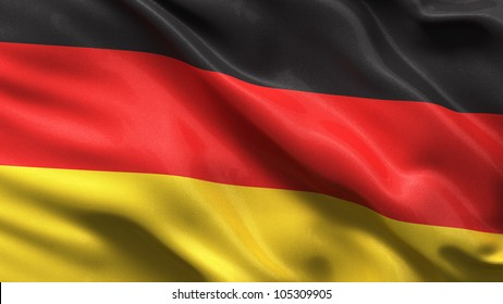 Silky flag of Germany waving in the wind with highly detailed fabric texture