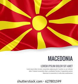 Silky flag of Macedonia waving on an isolated white background with the white text area for your advert message. 3D rendering.