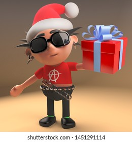 Silly 3d punk rock character with spikey hair and Santa hat holding a gift wrapped present, 3d illustration render
