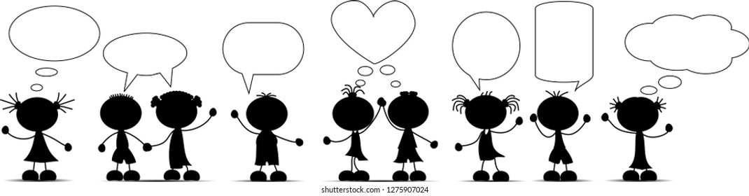 Silouettes of children with speech bubbles