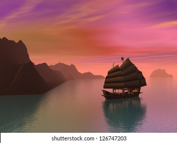 Silouhette of oriental junk boat on water next to mountains by sunset