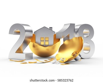 Silver 2018 New Year and broken golden Christmas ball with house on white background. 3D illustration
