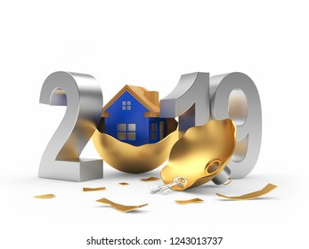 Silver 2019 New Year and broken Christmas ball with blue house icon isolated on white background. 3D illustration