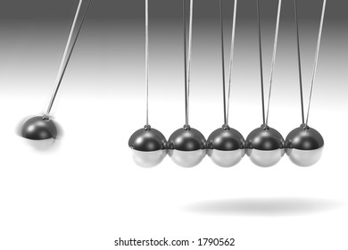 Silver 3d pendulum with one ball swinging