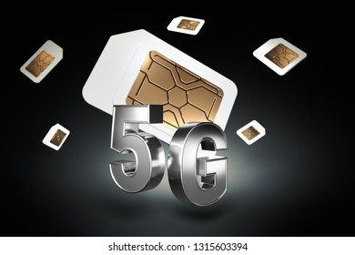 Silver 5G sign with sim cards hovering behind it on black background. High speed mobile web technology. 3D rendering