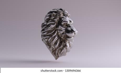 Silver Adult Male Lion Bust Sculpture 3 Quarter Right Side 3d illustration 3d render
