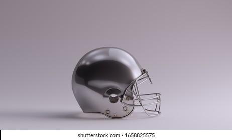 Silver American Football Helmet Right View 3d illustration 3d render