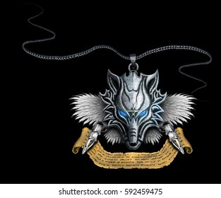 silver amulet wolf with wings on a black background