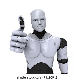 Silver android robot with thumb up smiling 3d illustration on white