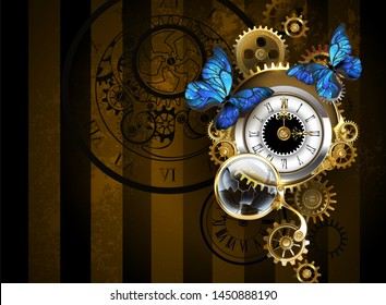 Silver antique clocks, decorated with jewelry, gold clock hands and black Latin numerals with sitting blue butterflies on brown striped background.
