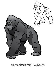 Silver back gorilla illustration