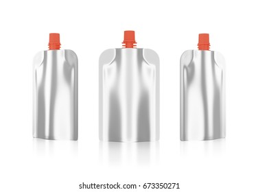 Silver  bag packaging white background. Plastic pack mock up. liquid product  fruit juice, milk , jelly. design and artwork. with clipping path (3D Rendering)