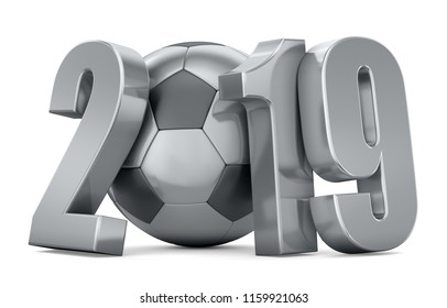 Silver ball and numbers 2019 on a white background. 3d render illustration.