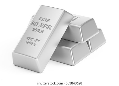 silver bars, 3D rendering isolated on white background