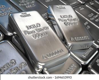 Silver bars or ingots background. Precious metal. 3d illustration