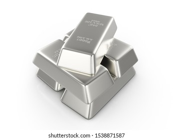 Silver bars on a white background. 3d illustration.