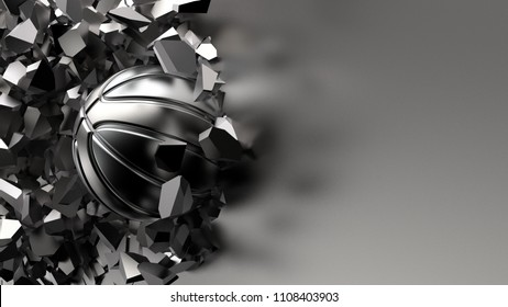 Silver Basketball ball on cracked roasted iron wall. 3D illustration. 3D high quality rendering.