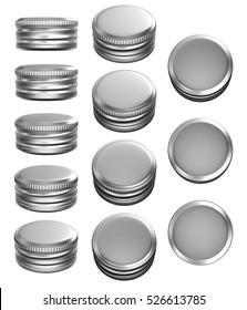 Silver beer bottle caps 3D rendering