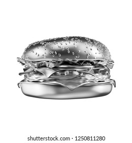 Silver big cheeseburger isolated on white background. 3d illustration.