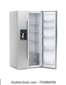 Silver big refrigerator with opened door on white background, 3D illustration