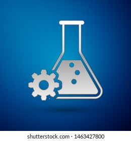 Silver Bioengineering icon isolated on blue background. Element of genetics and bioengineering icon. Biology, molecule, chemical icon