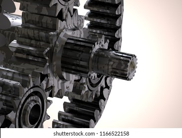 Silver and black planetary gear on a white background. 3D rendering