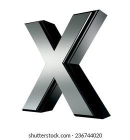 Silver with black rim high quality 3d render font type letter X isolated on white , uppercase