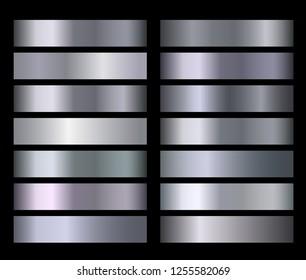 Silver blue metallic, bronze, gold, chrome metal foil texture gradients. Silver metallic gradient gradation for backgrounds, banner, user interface Template design